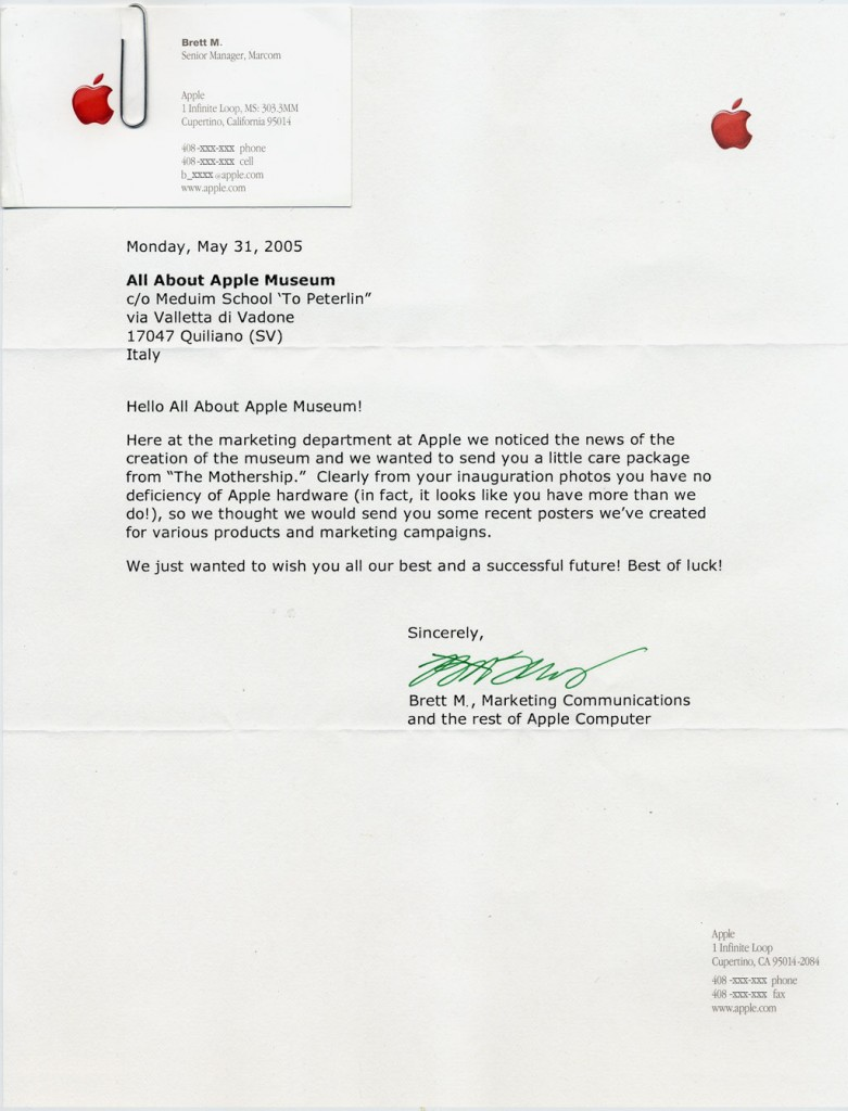Lettera da Apple Computer